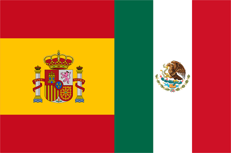 Spanish and Mexican flags.