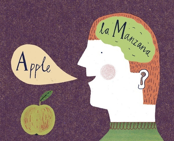 Saying apple in Spanish.