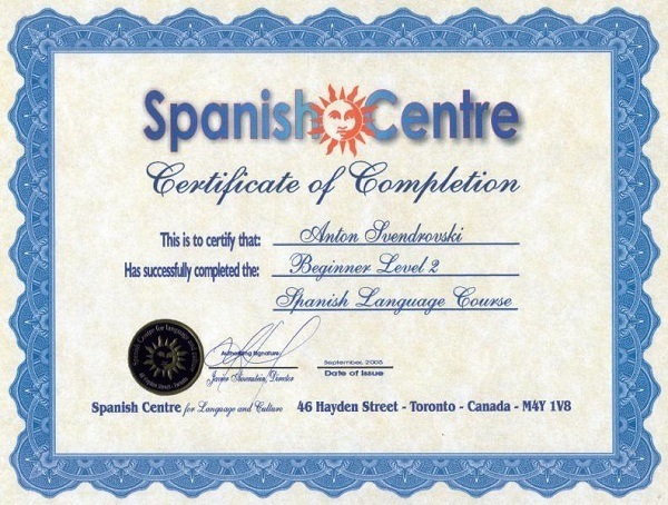 Spanish language certification.