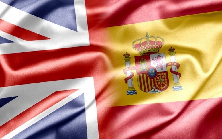 Great Britain And Spanish Flags